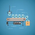 Vector concept of hi end production with noname tablet pc on conveyor line Royalty Free Stock Photo