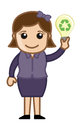 Vector concept lady holding a bulb with recycle icon drawing art of cartoon young pretty girl ecological and showing illustration Royalty Free Stock Images