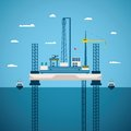 Vector concept of oil and gas offshore industry with platform on unstable legs Royalty Free Stock Photo
