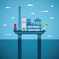 Vector concept of oil and gas offshore industry with stationary platform Royalty Free Stock Photos