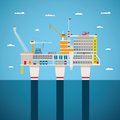 Vector concept of oil and gas offshore industry with stationary platform Royalty Free Stock Image