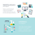 Vector concept of research and the chemical industry. Horizontal banners of theoretical research and experiments. Icons in the fla Royalty Free Stock Photo