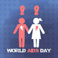 Vector concept on World AIDS Day. AIDS awareness. Vector poster about care and communication with people with AIDS.