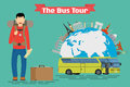 Vector conceptual illustration - Tourist goes to The Bus Tour of Europe and popular familiar landmarks. Royalty Free Stock Photo