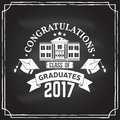 Vector Congratulations graduates Class of 2017 badge.