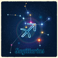 Vector constellation Sagittarius with Zodiac sign Royalty Free Stock Photo