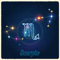 Vector constellation Scorpio with Zodiac sign Royalty Free Stock Photo