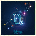Vector constellation Virgo with Zodiac sign Royalty Free Stock Photo