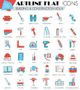 Vector Construction and building tools ultra modern outline artline flat line icons for web and apps.