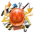 Vector Construction Concept with Helmet