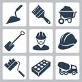 Vector construction icons set isolated Stock Images