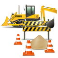 Vector construction machines with barrier on white background Royalty Free Stock Image