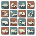 Vector construction machines flat icons on white background Royalty Free Stock Photos