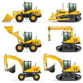 Vector construction machines set isolated on white background Stock Images