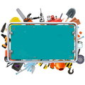 Vector Construction Rusty Frame with Tools Royalty Free Stock Photo