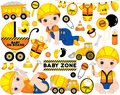Vector Set with Cute Boys Dressed as Little Builders, Construction Transport and Accessories