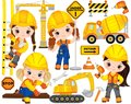 Vector Construction Set with Little Girls, Transport and Various Tools