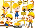 Vector Construction Set with Cute Little Builders, Transport and Tools. Vector Little Boys