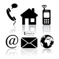 Vector contact icons over white Stock Photo
