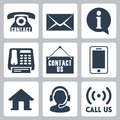 Vector contact us icons set Stock Images