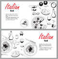 Vector cooking banner template with hand drawn objects on italia Royalty Free Stock Photo