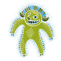 Vector cool cartoon monster, simple weird creature, green devil. Royalty Free Stock Photo