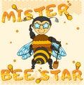 Vector cool honey bee boy