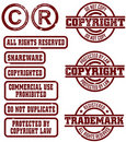 Vector Copyright Trademark Stamps Royalty Free Stock Photography