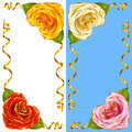 Vector Corner vignette set. Rose Hearts and Golden Ribbons