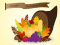 Vector of cornucopia with harvest fruits thanksgi time to celebrate your thanksgiving day basket Royalty Free Stock Image
