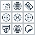 Vector coupon and discount related icons set Stock Photo