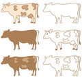 Vector cow set Royalty Free Stock Photo