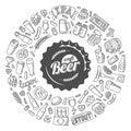 Vector craft beer doodle poster