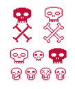 Vector craniums with crossed bones, flat 8 bit icons, collection