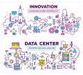 Vector creative concept illustration of data center and innovati