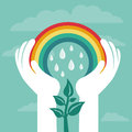 Vector creative concept with rainbow and human hands abstract growth Stock Photo