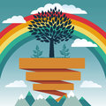 Vector creative concept with rainbow and tree Stock Photos