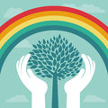 Vector creative concept with rainbow and tree human hands abstract growth Stock Images