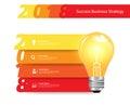 Vector creative light bulb idea with 2018 new year banner