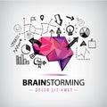 Vector creative logo, brainstorm creating new ideas, teamwork illustration