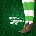 Vector creative saint patrick day greeting card with cartoon leprechaun girls legs Royalty Free Stock Photo