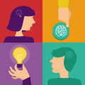 Vector creativity and brainstorming concept human brain idea icons in flat style Royalty Free Stock Photography