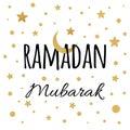 Vector crescent moon with gold stars for Holy Month of Muslim Community, Ramadan Mubarak congratulation.