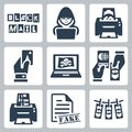 Vector criminal activity icons set blackmail hacking counterfeiting cardsharping piracy passport forgery skimming forgery of Royalty Free Stock Photos