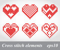 Vector cross stitch embroidery design elements can be used for decoration package Stock Images