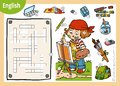 Vector crossword in English, education game for children. Cartoon artist girl and objects for drawing