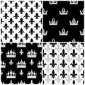 Vector crowns and fleur de lis seamless patterns set in black