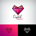 Vector crystal heart icon, jewelry logo. Love, diamond,