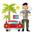 Vector Cuba Travel Concept. Flat style colorful Cartoon illustration.