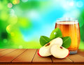 Vector cup glass of apple juice with slices of apple, ruddy appl